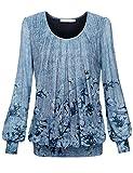 BaiShengGT Damen Langarmshirt Rundhals Falten Shirt Stretch Tunika Hell-Blau L