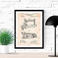 Poster de patente de maquina de coser. Lámina para enmarcar. Poster con diseños, patentes, planos de inventos famosos. Decoracion de hogar.