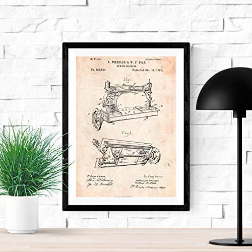 Nacnic Poster de Patente de Maquina de Coser. Lámina para enmarcar. Poster con diseños, Patentes, Planos de inventos Famosos. Tamaño (A3)