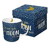 PPD Moon Love Trend Real Gold Porzellantasse, Kaffeetasse, Kaffee Becher, New Bone China, Blau / Weiß / Echtgold, 350 ml, 603203