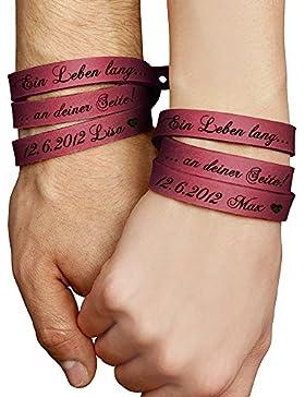 schenkYOU® Zwei Wickelarmbänder mit Gravur gestalten in Latico-rot - Echt Lederarmbänder mit Ihrem Wunschtext...