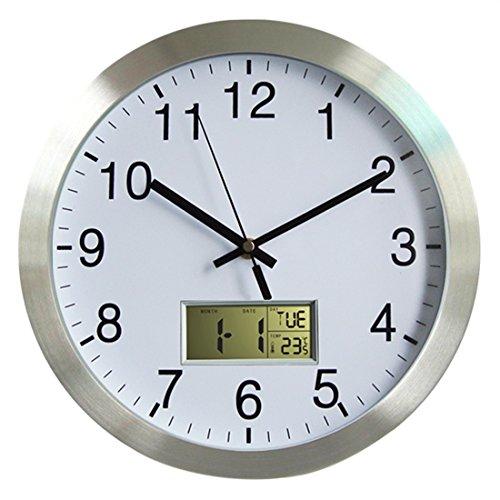 Funkuhr Wanduhr, Lommer 30CM Radio Controlled Modern Bürouhr Funk Metall Wanduhr mit Thermometer und Datum für Zuhause/Büro Dekoration/Geschenk, Uhr