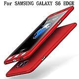 Samsung Galaxy S6 EDGE Coque Protection Souple PC 2 en 1 Full Cover Adamark 360 Housse Integrale Bumper Etui Case Accessoires Ultra Fin Et Discret Pour Samsung Galaxy S6 EDGE(Sans protecteur de film en verre trempé) (Rouge)