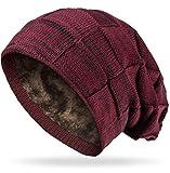 Grin&Bear Long Slouch Beanie Grobstrick Mütze mit Teddy Fleece gefüttert weinrot M11-1