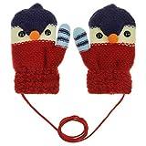 Kinder Fäustlinge Winter Handschuhe Fingerlos Fausthandschuh mit Schnur Warm Handwärmer für Jungen und Mädchen