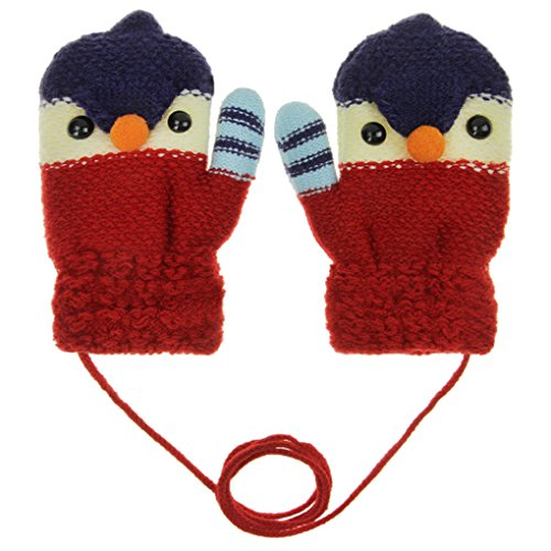 (YSXY Süße Fäustlinge Baby Kleinkind Gestrickte Handschuhe für 1,2,3 Jahre Jungen Mädchen Winter Warme Strickhandschuhe mit schnur Fleece-Innenfutter, Küken-rot, Einheitsgröße)
