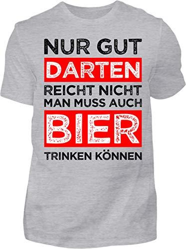 Kreisligahelden T-Shirt Herren Gut Darten reicht Nicht - Kurzarm Shirt Baumwolle mit Spruch Aufdruck - Hobby Freizeit Fun Dart Darts 180 (S, Grau)