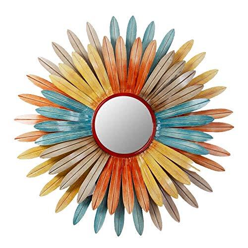 Cqing Espejo de Pared Decorativo de Metal con Flor del Sol, Acentos...