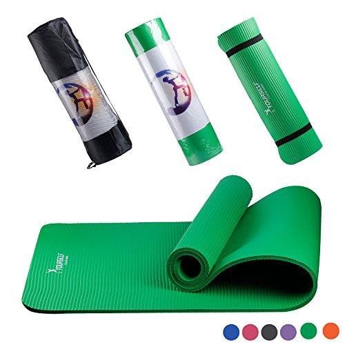 Syourself NBR Tappetino da Yoga-183cmx61cmx 1cm-Antiscivolo, Extra Spesso,Fitness Palestra Yogamatte per Ginnastica Esercizi,Campeggio,Stretching,Pilates con fascetta per il Trasporto+Borsa(Verde)