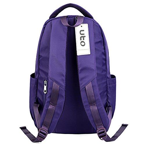 UTO Laptop Backpack Oxfürd wasserdicht Kleid Nylon Unisex Rucksack Schule Kollege Buchtasche Reise Tasche Schultertasche Henkeltasche _lila