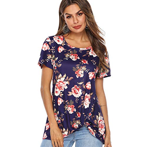 T- Shirt Für Damen, Dorical Frauen Sommer BeiläUfige Blumendruck Rundkragen Kurze Ärmel Knot Bluse,Kurzarmshirts,Lose Short Sleeve Elegant T-Shirt S-XXL ()