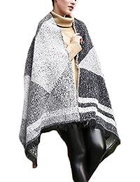 La Mujer Elegante Estampado Geométrico Colorblock Cálido Invierno Espesar Fringe Manta Envuelva Chal Bufanda