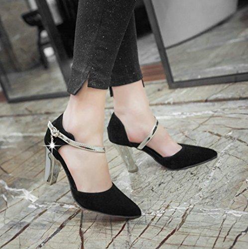 Donne modalità fiocco a fibbia Reggiseno a tacchi scarpe da sera appuntita d' estate donne nero rosso beige nero