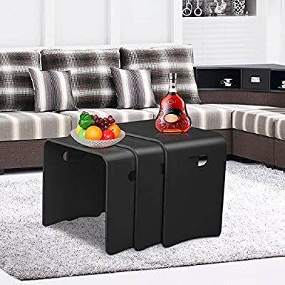 Popamazing Set Of 3 Mondern Black Wood Nesting Tables Nest of 3 Coffee Tables Living Room Side End Tables