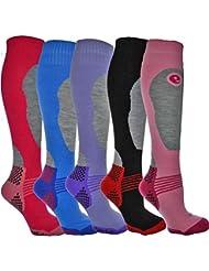 4 Pairs - HIGH PERFORMANCE ladies ski socks - long hose thermal socks