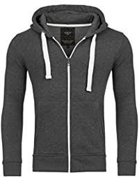 Young & Rich Hoodie Sweatjacke Herren Jacke Basic Sweater Sweatshirt Uni Hoody Kapuzenpullover Pullover mit Kapuze in der Farbe Antra XXL