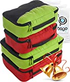 Packing Cubes 4pcs Value Set for Travel – Plus 6pcs Luggage Organiser Zip Bags (2Green+2Red)