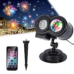 Idea Regalo - Proiettore Luci Natale LED Natalizia, ALED LIGHT Impermeabile Proiettore da Esterno 16 Lenti Intercambiabili Luce Lampada Natalizia Proiezione Decorazione con Telecomando per Natale Festa Festività