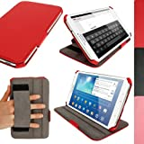 """iGadgitz Premium Executive Red PU Leather Case Cover for Samsung Galaxy Tab 3 8.0"""" SM-T310 with Multi-Angle Viewing Stand + Auto Sleep/Wake + Hand Strap + Screen Protector"""