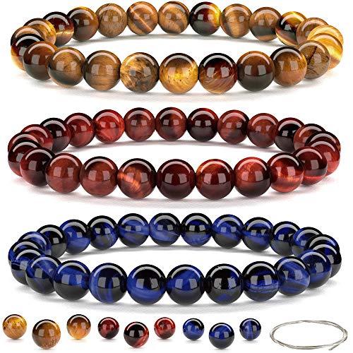 Orti Jewelry Set 3 Tigeraugen-Armbänder Braun - Blau - Rot - Für Damen und Herren