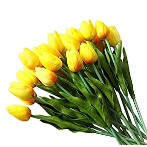 20 Pcs Tulipanes Artificial Tacto Verdadero Flores Artificiales Material de PU Adorno para Boda Ceremonias Navidad Hogar…