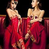 Nachtclub Bühne Leistung Pole Tanzen Cosplay Net Garn Transparent Langärmeligen Kleider Satin Braut Kostüme Anzüge Bademantel Anzug Frauen Echte Uniformen,Rot,Einheitsgröße
