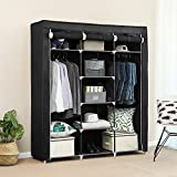 #8: Aventure Fancy Clothe storage Wardrobe Cupboard Closet with 7 Cabinet and 2 long Shelves Organizer Hanging Rail Rack Foldable Portable with Fabric cover