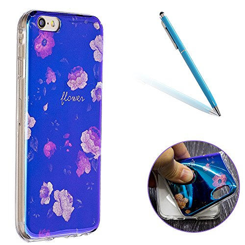 "iPhone 6s Hülle, Luxus Blau Kristall CLTPY iPhone 6 Ultra Slim Dünn Weichsilikon Cover Bunt Retro Blumemuster Schutz-etui Stoßdämpfung & Kratzfeste Schale für 4.7"" Apple iPhone 6/6s + 1 x Stift - Bego Rosa Stamens"