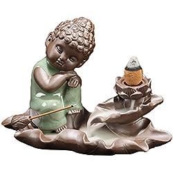 Quemador de incienso de reflujo, casa Buda soporte para incienso con 10pcs flujo de retorno reflujo incenses Buda cerámica quemador de incienso soporte