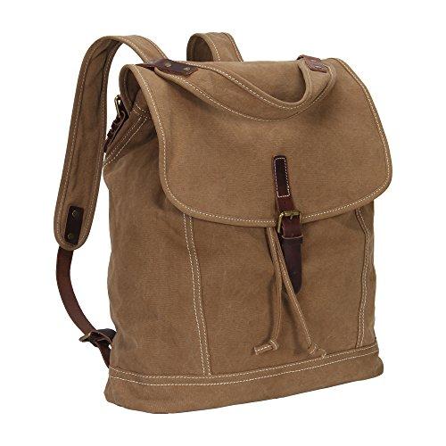 Imagen de veevan  grande / bolso al hombro de lona con correa de cuero genuino caqui