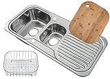 Küchen Edelstahl Einbauspüle mit Abtropffläche und Restebecken. Draht Korb Schüssel Einsatz und Bambus Schneidebrett inbegriffen. (E01 mr + cb + wb)