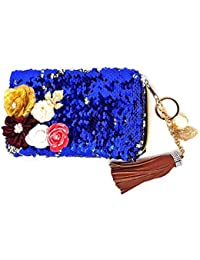 AASA Fancy Mermaid Hand Bags For Women And Girls, Party Wear Use Glittery Hand Bags, Blue, 15 Grams, Pack Of 1