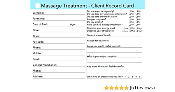 Massage Client Record Card
