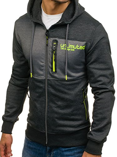 BOLF Herren Kapuzenpullover mit Reißverschluss Baumwollmischung Sweatjacke Hoodie 1A1 Dunkelgrau-Grau_2104