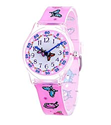 Jewtme Cute Analog Quartz watch Stylish Style With Colorful Band for Teenagers Young Girls Students Watches Gifts (Butterfly Pink)