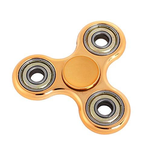 EDC Hand Fidget Tri-Spinner Finger Spinner Focus Reduce Stress Tool (Gold)