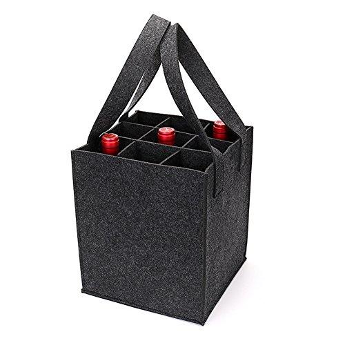 Starke Filz Wein Tasche mit Griff, HomeYoo Weinflasche Geschenk Tasche für Reisen Party Strand Urlaub Geburtstagsparty, wiederverwendbare Waschbar mit abnehmbaren Teiler (9 Flaschen, Dunkelgrau)