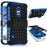 ONEFLOW Samsung Galaxy S5 Mini | Hülle Silikon Hard-Case Blau Outdoor Back-Cover Extrem Stoßfest Schutzhülle Grip Handyhülle für Samsung Galaxy S5 Mini Case Rückseite Tasche