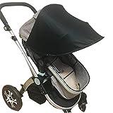 Passeggino universale parasole parasole Ray copertura protettiva UV, scudo meteo, tessuto elastico per neonato-semplice, 4 colori, nero