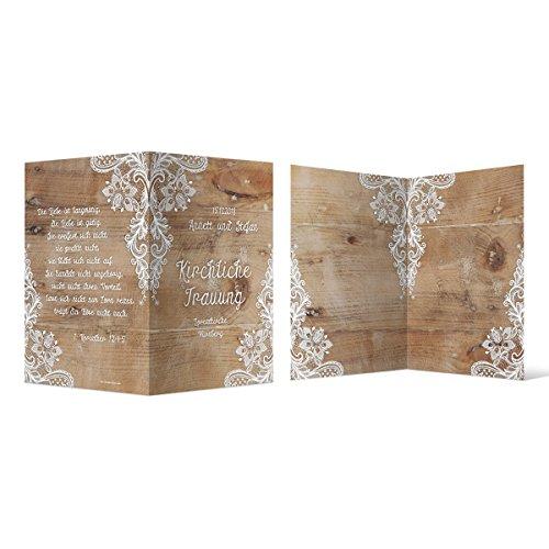 100 x Kirchenheft Hochzeit individuell mit Ihrem Text - Rustikal mit weißer Spitze