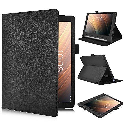 ELTD Lenovo Yoga Tab 3 Plus Hülle Case, Leder Tasche Schutzhülle mit Standfunktion Für Lenovo Yoga Tab 3 Plus 25,65cm (10,1 Zoll IPS), Schwarz
