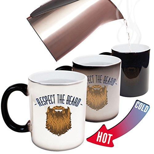 123t Funny Mugs Respect The Beard - Beard Moustache Grooming Men Manly Joke Humour christmas secret santa HEAT COLOUR CHANGING NOVELTY MUG - GIFT BOXED
