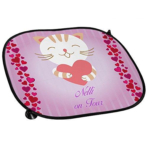 Auto-Sonnenschutz mit Namen Nelli und süßem Katzen-Motiv für Mädchen - Auto-Blendschutz - Sonnenblende - Sichtschutz