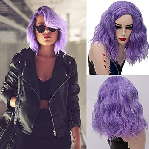 Gewellte Lila Cosplay PerüCke Violett Karneval Halloween Chirstmas Party Wigs+PerüCkennetz EingenäHt 17.71inch,Purple ()