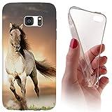 Samsung S4 / S4 Neo Softcase Hülle Galaxy S3 Cover Backkover Softcase TPU Hülle Slim Case für Samsung Galaxy S4 / S4 neo (1005 Pferd Braun Weiß Hengst)