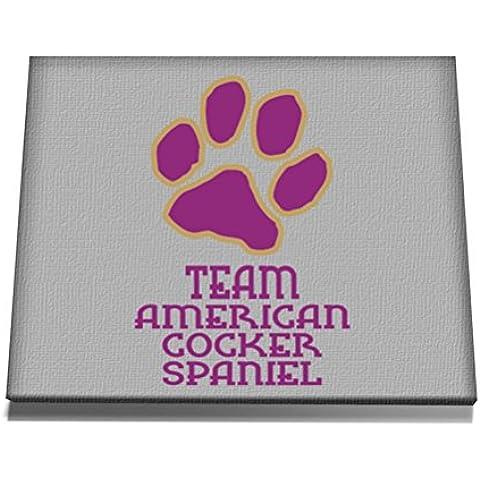 Teeburon American Cocker Spaniel TEAM DOG PAW Tela muro arte 12 x 8 Inch