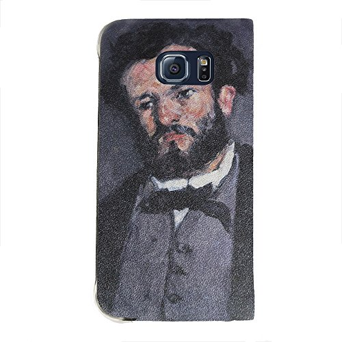 Cezanne - Portrait Of Antony Valabregue, Portafoglio Mesh Flip Custodia Protectiva in PU Pelle Wallet Case Cover Shell Nero con Design Colorato per Samsung Galaxy S6 Edge G9200.