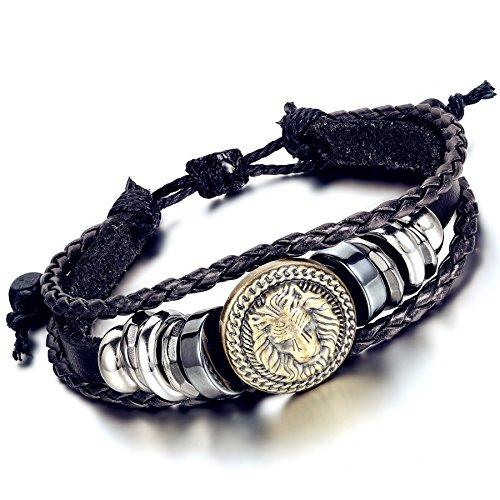 Flongo Bracelet Alliage Cuir Leather Corde Tête de Lion Perle Tressé Tribal Punk Réglable Bijoux Cadeau Brun Noir pour Femme Homme noir/brun;2pcs