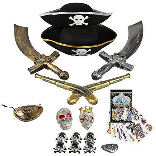 Piraten Kostüm Billig - com-four® Zubehör-Set II. für Piraten-Kostüme - Ideal für Karneval, Motto-Partys und Kostümveranstaltungen (15-teilig)