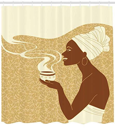 Nyngei Afrikanische Frau Duschvorhang lächelnd glücklich Afro Lady mit heißen Kaffeetasse Samen Kakao Vintage Stoff Badezimmer Dekor Set mit Hellbraun - Kakao-winkel